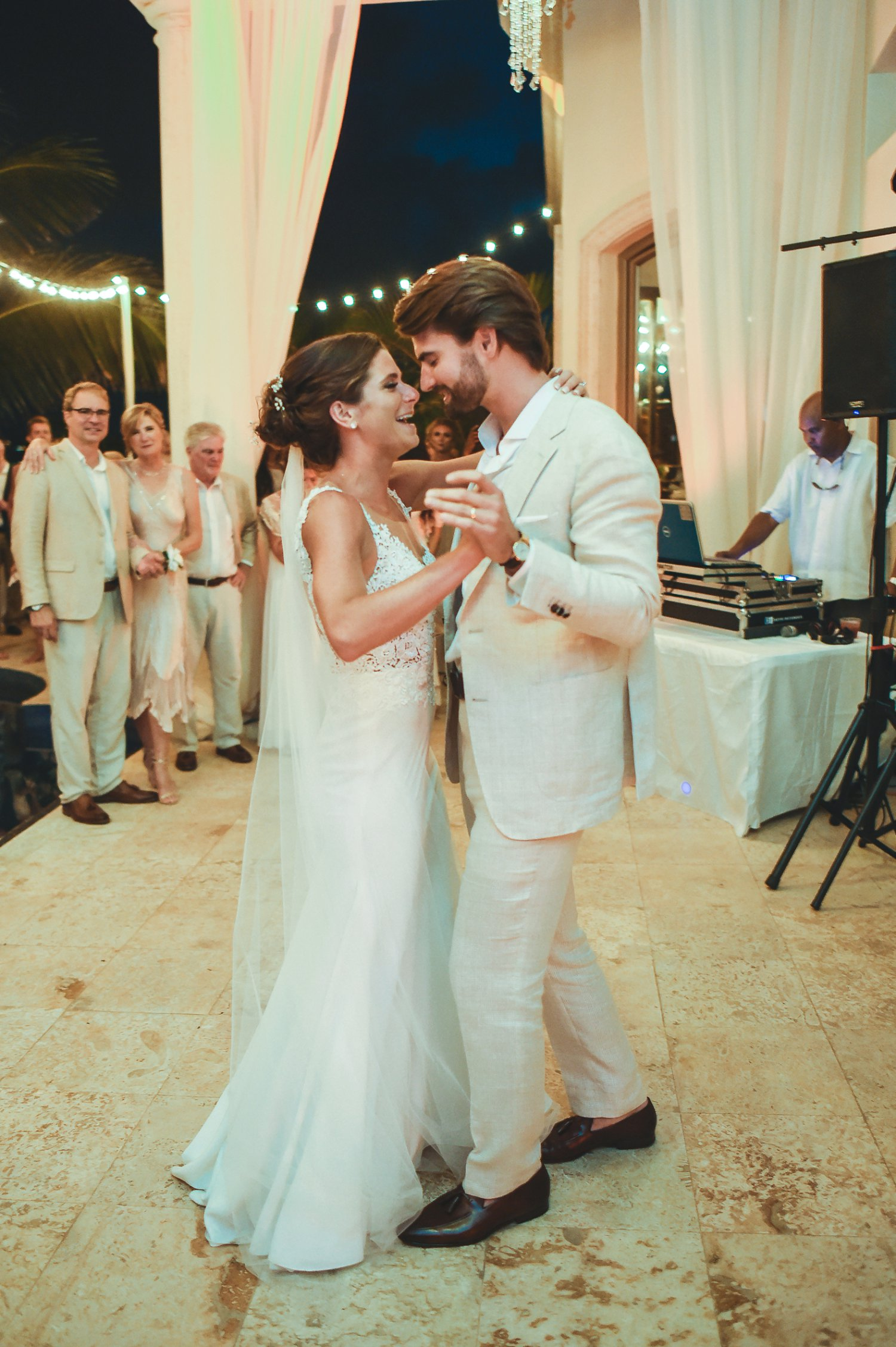 Bride and groom dance their first dance with DJ Adonis in St. Thomas