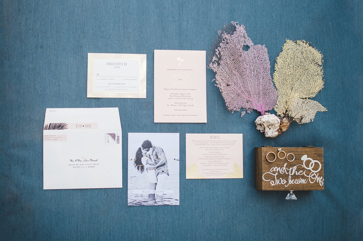 Tropical love, guilded palms, wedding invitation suite and save the date cards by minted.com are perfect for a destination wedding.