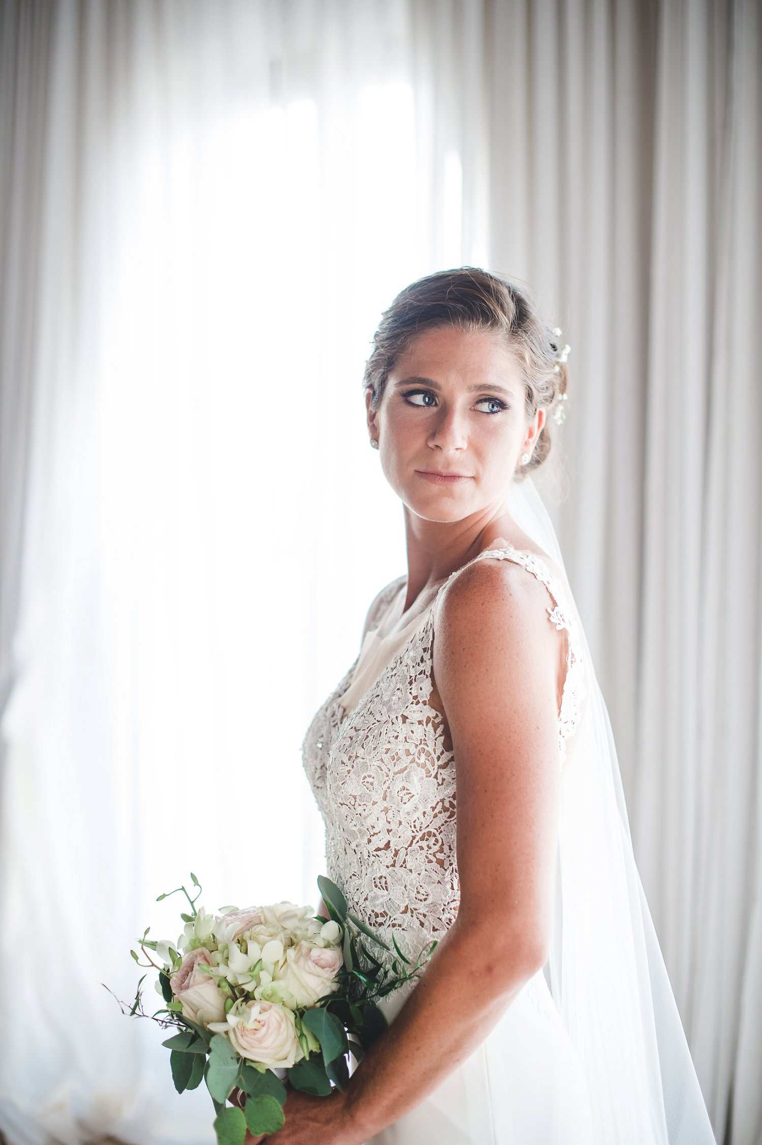 Bridal portrait with lace bodice gown for destination wedding in St. Thomas