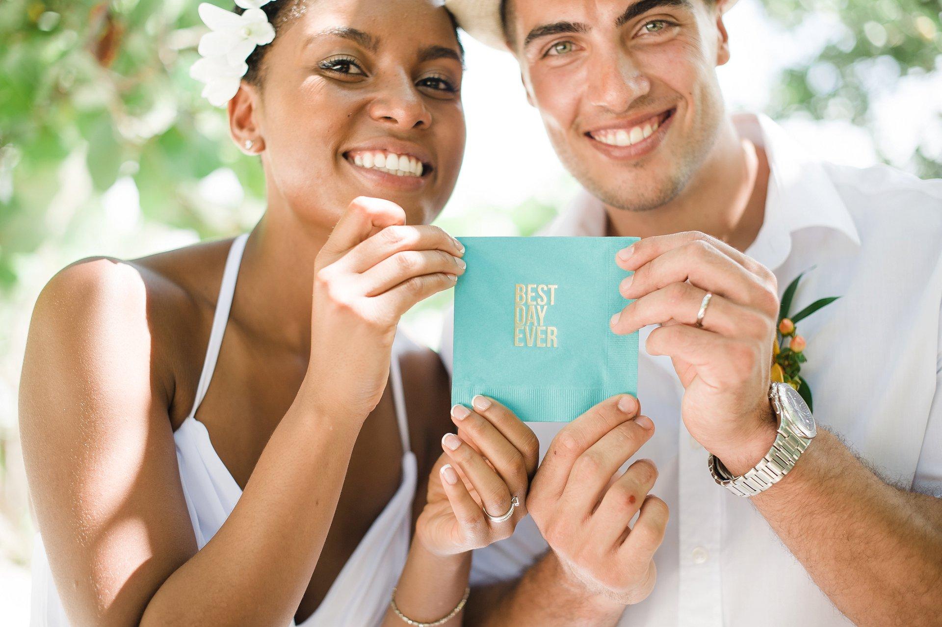 Gold foil Best Day Ever cocktail napkins in aqua for destination wedding.