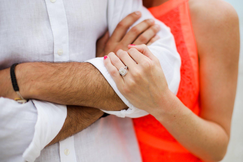 Emerald cut diamond engagement ring.