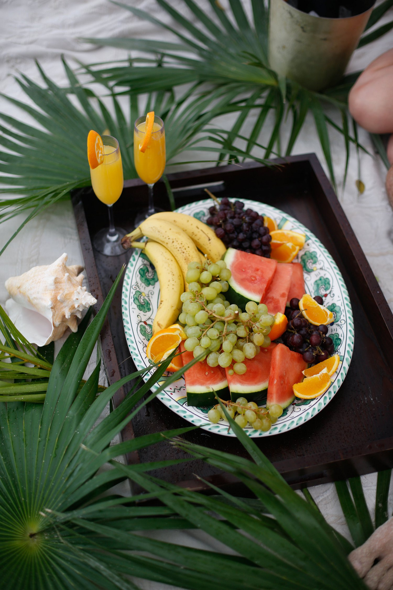 Tropical fruit platter on the beach