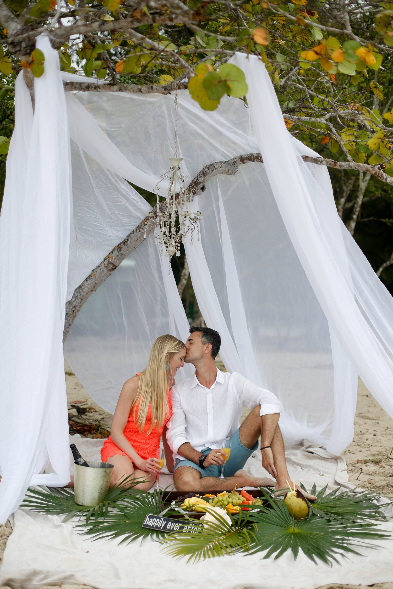 Tropical engagement photo session on the beach.
