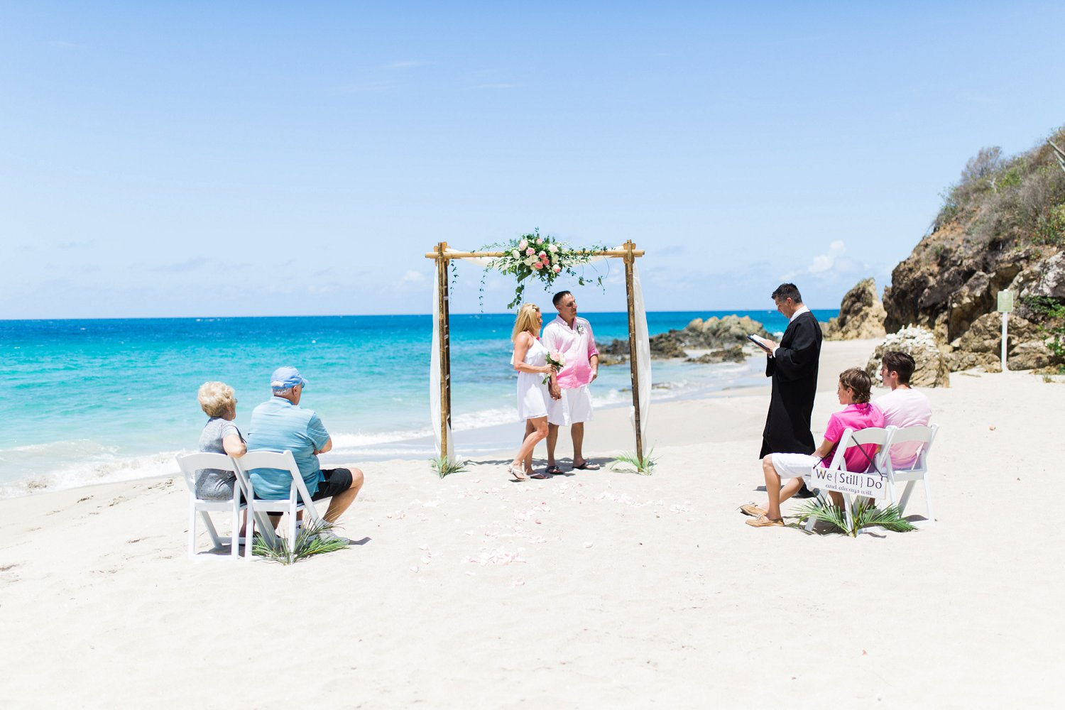 Vow renewal ceremony at Limetree beach with Wedding Minister Island Mike, stthomasweddingofficiant.com