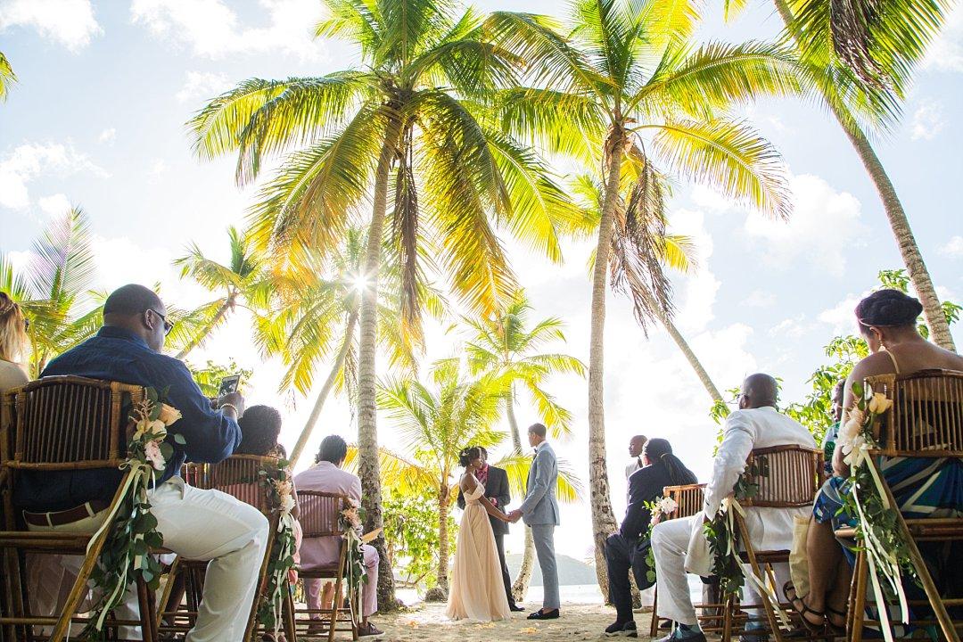 Wedding ceremony under palm trees at Oppenheimer beach in St. John, Virgin Islands