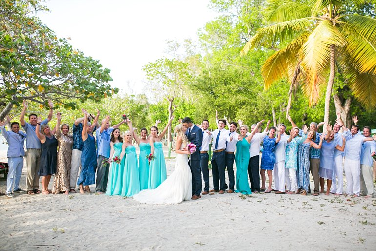 Big group photo of wedding at Magens Bay