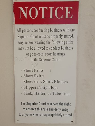 Dress code for picking up marriage license from VI Superior Court