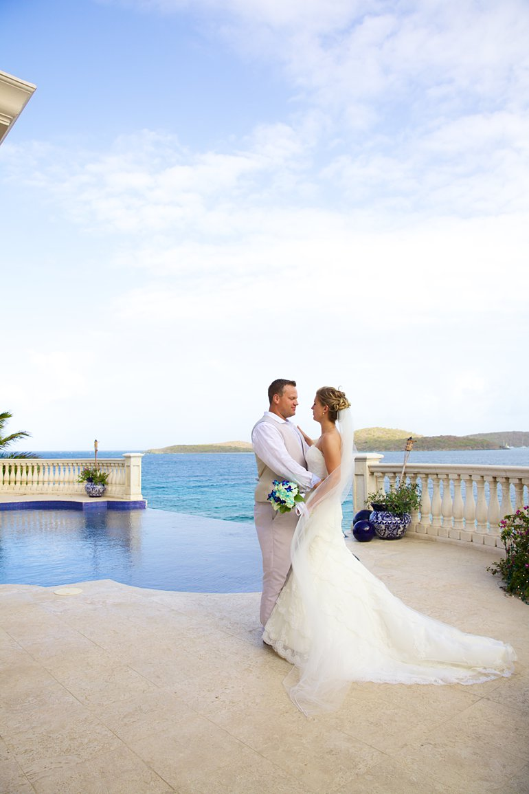First dance by the pool at Villa Serenita, St. Thomas