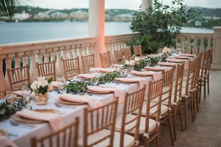 Wedding reception dinner set up for destination wedding in St. Thomas by wedding planner Blue Sky Ceremony
