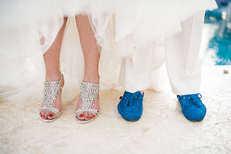 Photo of bride and groom shoes for destination wedding in St. Thomas with wedding planner Blue Sky Ceremony