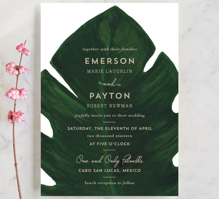 Palm Wedding Invitations by Kaydi Bishop