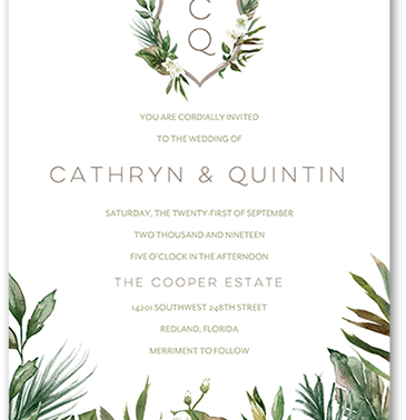 Tropical destination wedding invitation with painted watercolor leaves, foliage and flowers.