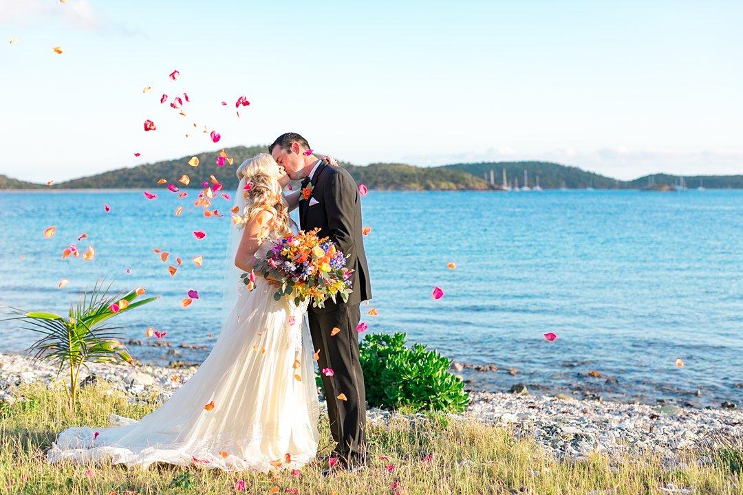 Petal toss photo at destination wedding.