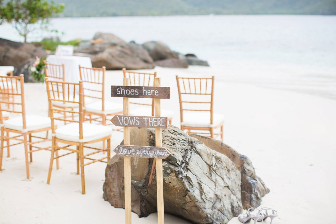 Beach Wedding Sign - Shoes Here, Vows There, Love Everywhere, Sand Dollar Estate Private Beach Wedding in St. Thomas, USVI