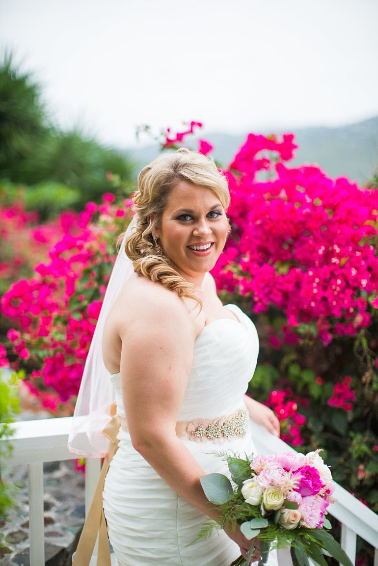Bride gets reacy for wedding ceremony at Sand Dollar Estate Villa in St. Thomas