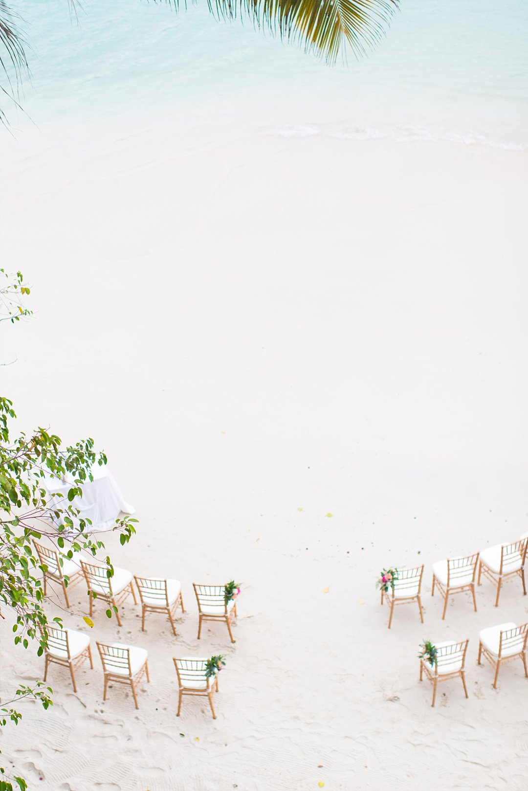 Private beach wedding ceremony set up at Villa Sand Dollar Estate in St. Thomas, USVI