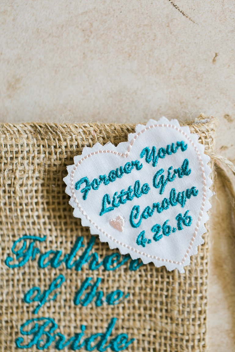 Wedding tie patch for aqua colored destination wedding - Always your little girl