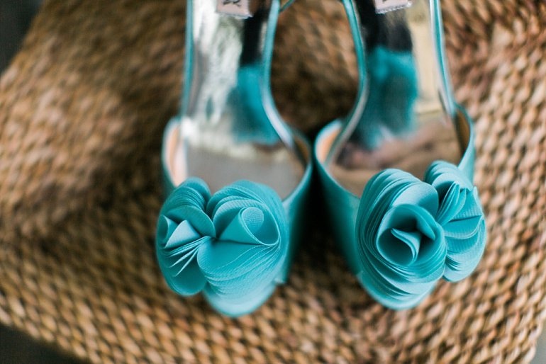 Aqua shoes for destination wedding