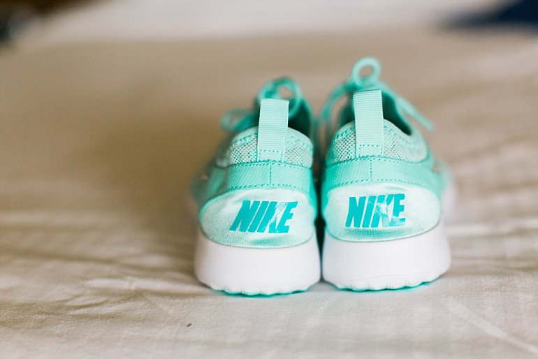 Aqua Nike sneaker tennis shoes for destination wedding bride