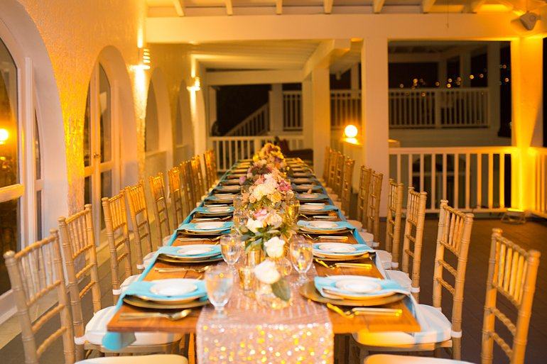 Wedding reception dinner set up at Villa Sand Dollar Estate, St. Thomas, VI