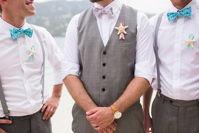 Starfish boutonniere and gray suit pants with suspenders for beach wedding in St. Thomas