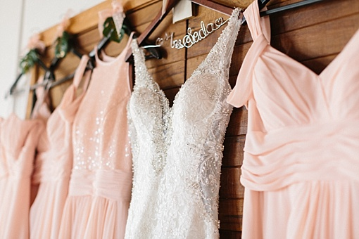 Pale peach bridesmaids dresses.