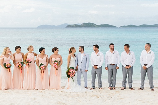 Peach and gray Caribbean beach wedding at Lindquist Beach, Smith Bay Park, in St. Thomas