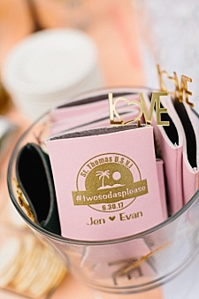 Pink and gold wedding koozie ideas