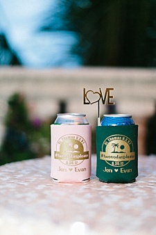 Peach gold and green tropical wedding koozie favors