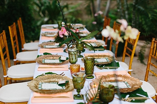 Tropical destination wedding reception