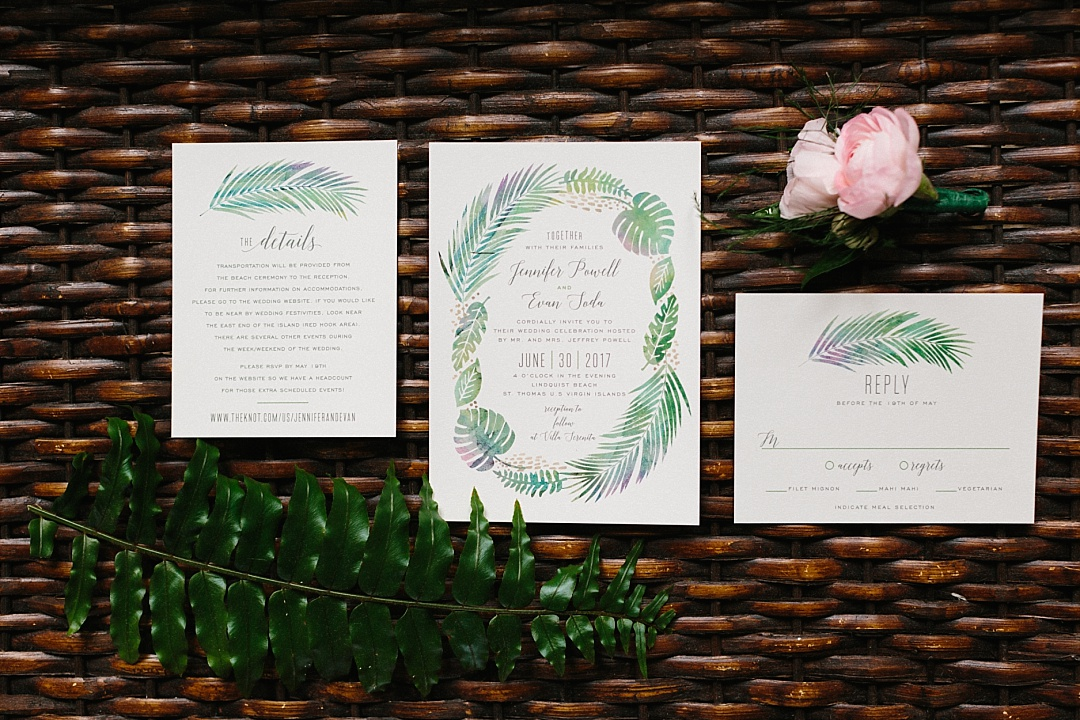 Minted.com tropical palm leaves invitation for destination weddings