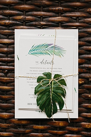 Minted.com tropical palm leaves destination wedding invitation suite