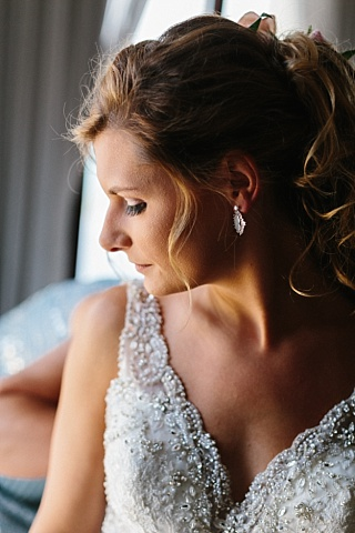 Bride gets ready for destination wedding in St. Thomas.